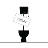 Toilet black  in colorful Royalty Free Stock Photo