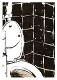 Toilet. Black and white ink drawing of toilet Royalty Free Stock Images