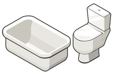 Toilet bowl and bath. Vector illustration of isometric view of toilette bowl and bath. Contrast grey outline. Can be used as icon for games and mobile apps, or Royalty Free Stock Photo