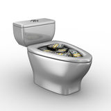 Toilet bowl full of money Royalty Free Stock Images