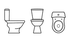 Toilet bowl. Isolated icons on gray and white stock illustration