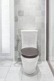 Toilet bowl in a modern bathroom. Stock Photo