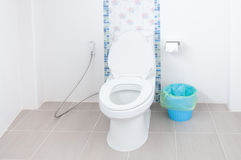 Toilet bowl in a modern bathroom and Blue bins Stock Photo