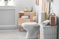 Toilet bowl in modern interior. Toilet bowl in modern bathroom interior stock photography