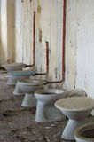 Toilet bowl in public old interior 2 Royalty Free Stock Photos