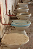 Toilet bowl in public old interior 3 Stock Photo