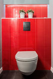 Toilet bowl, red tiles Royalty Free Stock Images