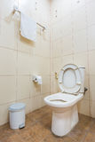 Toilet bowl and toilet paper in the bathroom. Royalty Free Stock Image