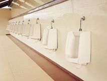 Toilet Bowl urinals for adults and children level Stock Photos