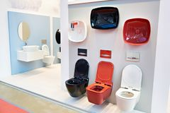 Toilet bowls in shop. Toilet bowls in the sanitary ware shop Stock Images