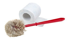 Toilet brush and paper Royalty Free Stock Photography