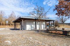 Toilet building on a rest stop. In germany Royalty Free Stock Images