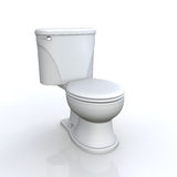 Toilet and cistern. Modern toiled and cistern with handle to flush isolated on white, background Stock Images