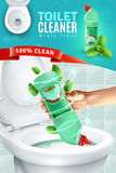 Toilet Cleaner Ad Background. Realistic fresh fragrance toilet cleaner composition vertical advertising poster with human hand applying cleaner to toilet bowl royalty free illustration