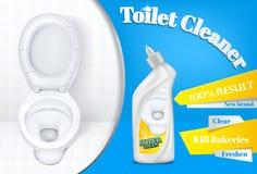 Toilet cleaner vector advertising poster template illustration of cleanser plastic bottle for brand product. Toilet cleaner vector advertising poster template Stock Images