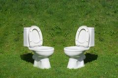 Toilet die zich op het gazon bevinden Royalty-vrije Stock Foto's