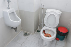 Toilet dirty , Rusty water in public toilet  bowl Stock Photography