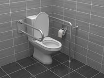Toilet for disabled people. Equipped with grab bars. 3d rendering illustration.  royalty free stock image