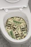 Toilet, dollars,  Stock Foto