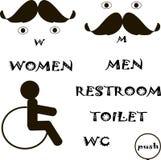 Toilet door marks. Mustache, hair, eyes Stock Photo