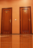 Toilet doors. For male and female genders Stock Photo