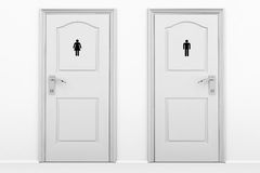 Toilet doors for male and female genders. In grey key Royalty Free Stock Images