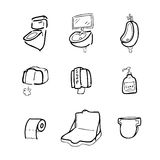 Toilet drawing icons set1 Royalty Free Stock Photography