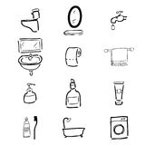 Toilet drawing icons set2 Royalty Free Stock Photo