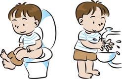 Toilet en was Royalty-vrije Stock Foto's