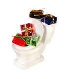 Toilet full of presents Stock Photo