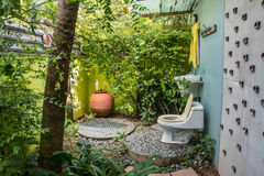 Toilet in the garden Royalty Free Stock Images