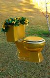 Toilet - gold throne. A golden toilet built for royalty sits on a lawn and is decorated with greenery and golden flowers....fit for a King or Queen! Just what royalty free stock photography