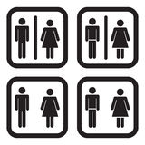 Toilet icon in four variations.  Stock Image
