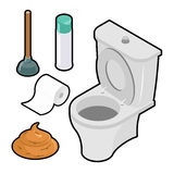 Toilet icon set Isometric. White toilet. Green rubber plunger. R Royalty Free Stock Photos