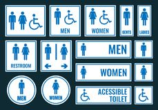 Toilet icons and restroom signs. Wc labels Royalty Free Stock Images