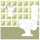 Toilet. Illustration of a toilet room with toilet bowl and toilet paper Royalty Free Stock Photography