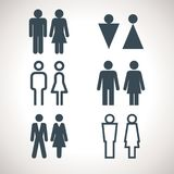 Toilet indicating signs. Vector men and women WC directional sign. Variety of restroom icons Stock Illustration
