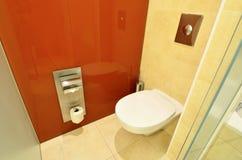 White toilet inside hotel bathroom  Stock Image