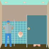Toilet interior vector illustration. Lavatory in. Flat style. Men restroom design template. WC inside view. Water closet Royalty Free Stock Image