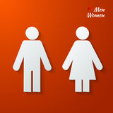Toilet label. 3d Paper signs - toilet, changing room, male, female, wc, on a red background. Vector Royalty Free Stock Image