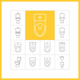 Toilet linear icons Stock Photo