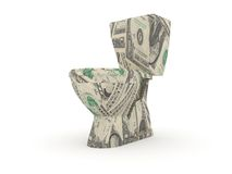 Toilet made by dollar bills. Isolated object Stock Image