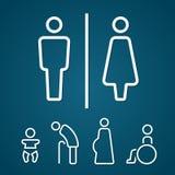 Toilet mannelijke vrouwelijke verlamt zwanger oudje en baby de slag van het tekenoverzicht royalty-vrije illustratie
