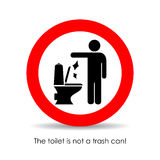 Toilet is not a trash can, vector sign royalty free illustration