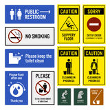 Toilet Notice and Restroom Warning Sign Signboards. A set of toilet sign and symbols. They are public restroom direction with arrow, no smoking, keeping toilet Royalty Free Stock Images