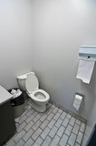 Toilet in Office Washroom. A toilet, sink and waste basket in an office washroom Stock Photo