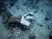 Toilet onderwater in het overzees stock fotografie