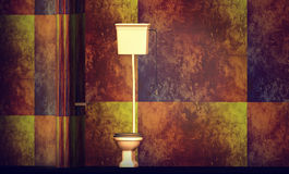 Toilet op ontwerpermuur stock afbeelding