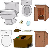 Toilet and outhouse Illustrations Royalty Free Stock Photo