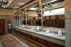 In toilet. Panoramic view of nice modern toilet room Royalty Free Stock Image